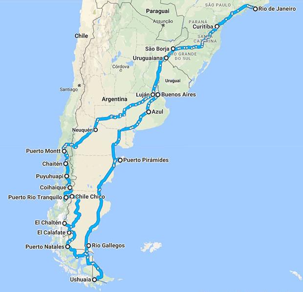 percurso viagem